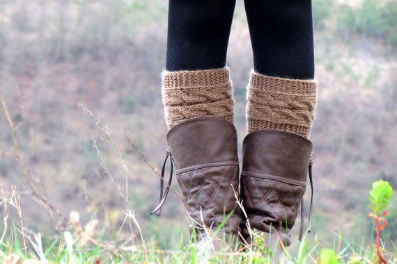 Knitted Boot Cuff  Woman   milk coffie brownbeige by EmofoFashion, $32.00