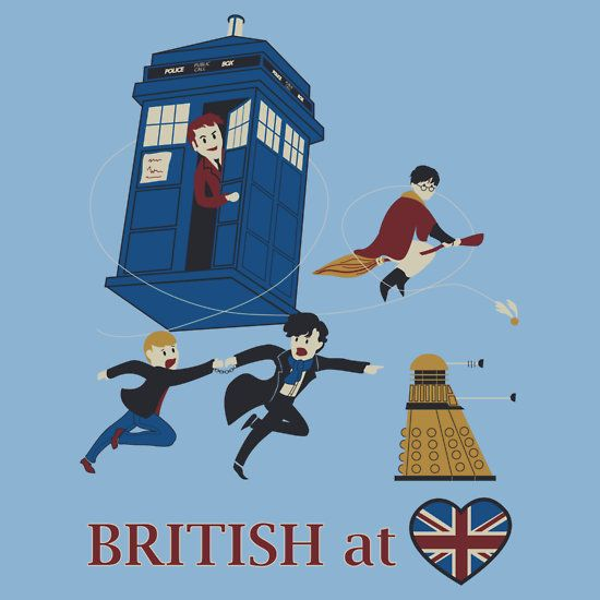 """""""British at heart"""" T-Shirts & Hoodies. THIS IS SO GREAT! Dr Who, Sherlock, Harry Potter <3 all in one glorious shirt. This website has TONS of other AMAZING fandom clothes, phone cases, etc."""