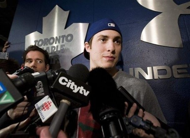 Toronto Maple Leafs' Tyler Bozak speaks with reporters as his team cleans out their lockers at the Air Canada Centre in Toronto on Monday April 9, 2012.