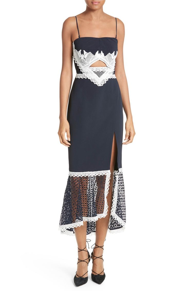 Main Image - Jonathan Simkhai Cutout Lace Inset Midi Dress