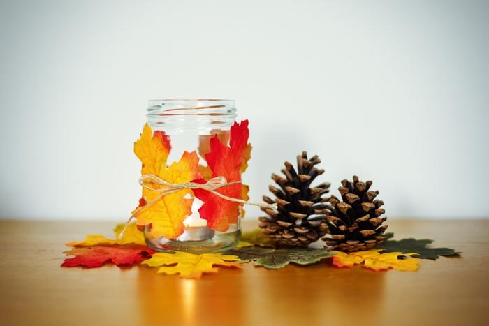 autumn  > leaf wrapped jar