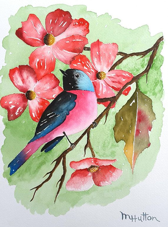 Bird Watercolor Painting Original Bird Painting Birds Art