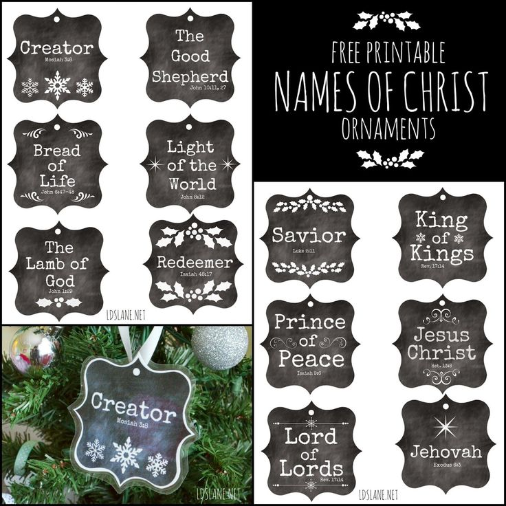 Names of Christ - free printable ornaments