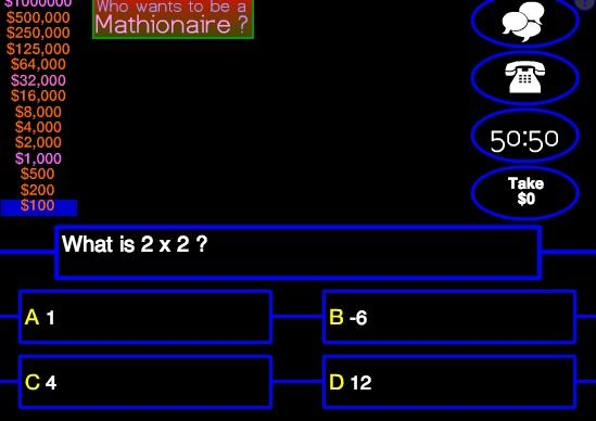 Who wants to be a Mathionaire - Multiplication Quiz