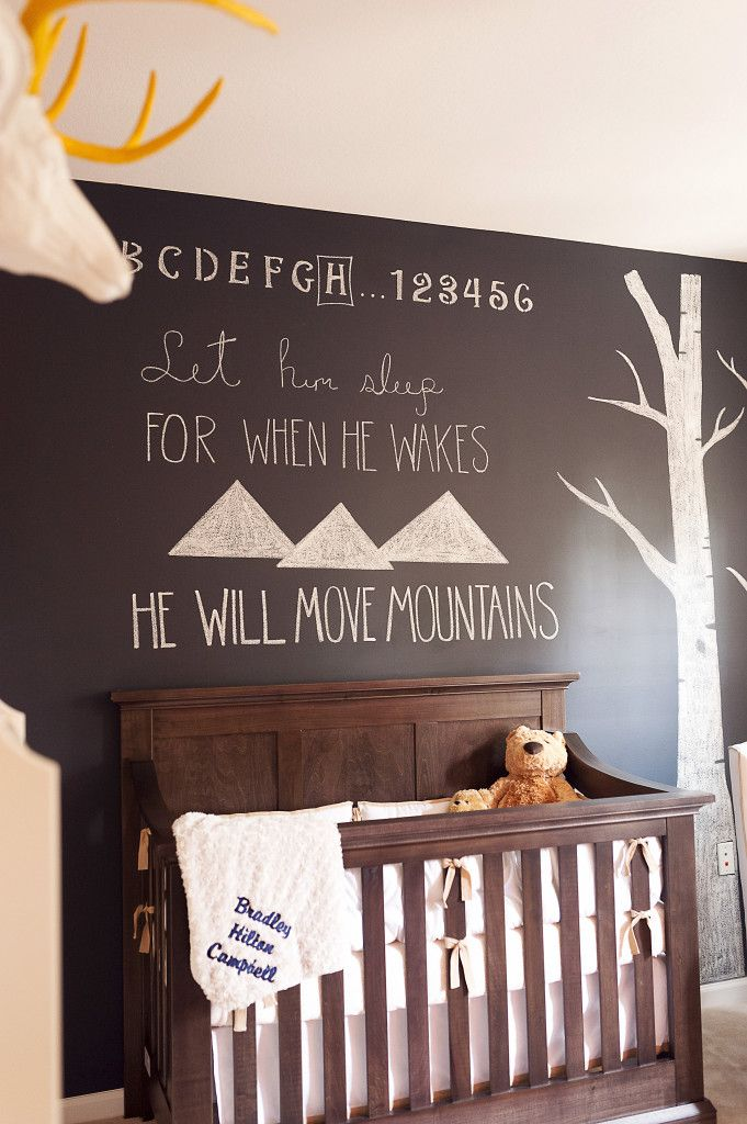 Learn how to make your baby's nursery whimsical with a DIY chalkboard wall.