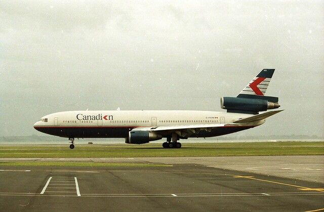 Canadian Airlines DC-10, Auckland International Airport, Dec 1988, image via flickr