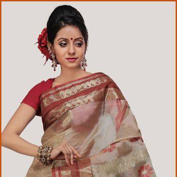 Beige and Rust Orange Bengal Handloom Pure Tussar Silk Saree with Blouse