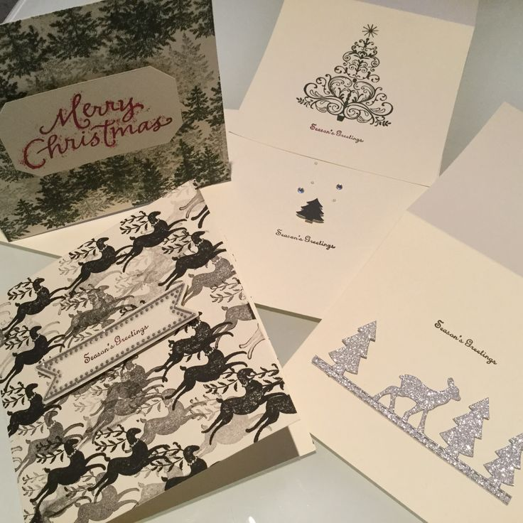 DIY Christmas cards I made with stamps and stickers. Easy!