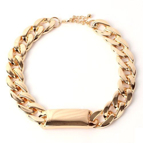 Thick Gold Chain Necklace ID Choker Necklace $9.99 #topseller