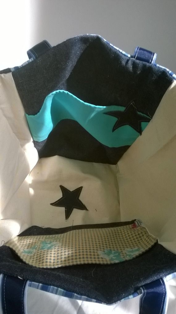 "cabas ""LOLY"" toile jean's, toile rayures bleu, application étoiles"