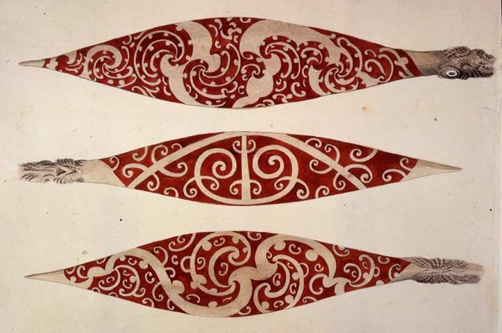 Three paddles from New Zealand. From A Collection of Drawings made in the Countries visited by Captain Cook in his First Voyage. 1768-1771 Pen, wash & watercolour. Date: October 1769 Author: Sydney Parkinson Dimensions: 295 x 228 Collection: British Library