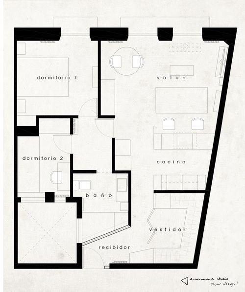 El piso de Irene - plano estado reformado #distribucion #layout #interiordesign #despues #after #reformaintegral #renovation