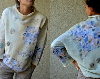 Felted wool, Women White - beige, nuno felt top,  Wearable Art Clothing, felted clothing, wool Top, Designer Blouse, Hand made