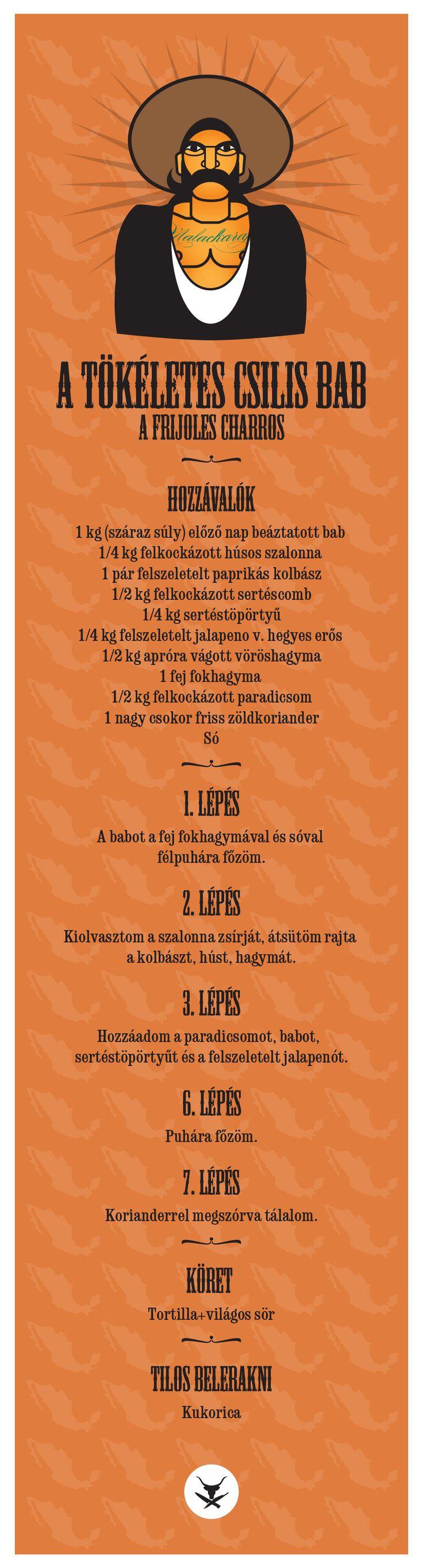 Minden magyar férfinak van egy receptje rá, de nagy részük kukoricás pörköltet, vagy bablevest főz helyette, csak csilis babnak nevezi a kotyvalékot. Ez itt a mexikói ős, csupa cubákos hús, bab, paradicsom, koriander és csípés, semmi gringó