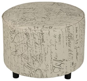Shakespeare Medium Size Round Ottoman - transitional - Ottomans And Cubes - Cortesi Home