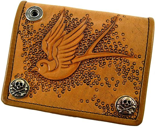 THREE AMIGOS tooled leather wallet