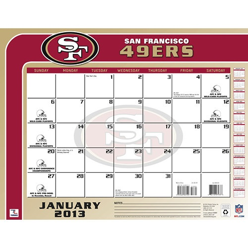 San Francisco 49ers Desk Pad: The 2013 San Francisco 49ers Desk Pad Calendar is perfect for the fan that needs to keep dates and appointments close at hand while at their home or office desk.  $13.99  http://www.calendars.com/San-Francisco-49ers/San-Francisco-49ers-2013-Desk-Pad/prod201300001301/?categoryId=cat00507=cat00507#
