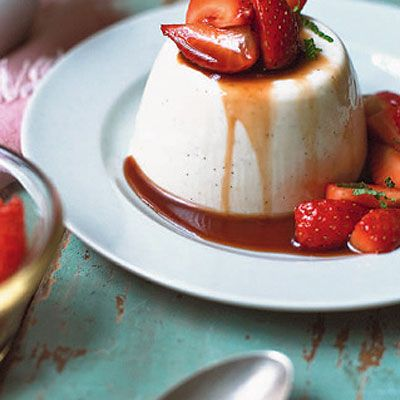 Panna cotta with pastis-macerated strawberries