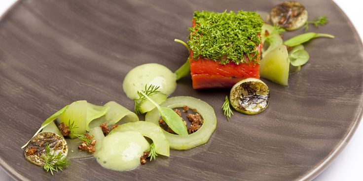The flavour of gin marries beautifully with Alaska salmon, cucumber and wasabi emulsion in this summery salmon recipe from Dave Watts.