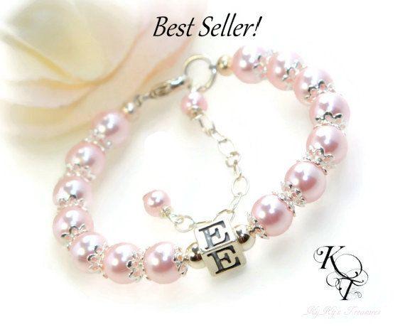 Baby Bracelet Personalized Baby Initial Baby by KyKysTreasuresLLC