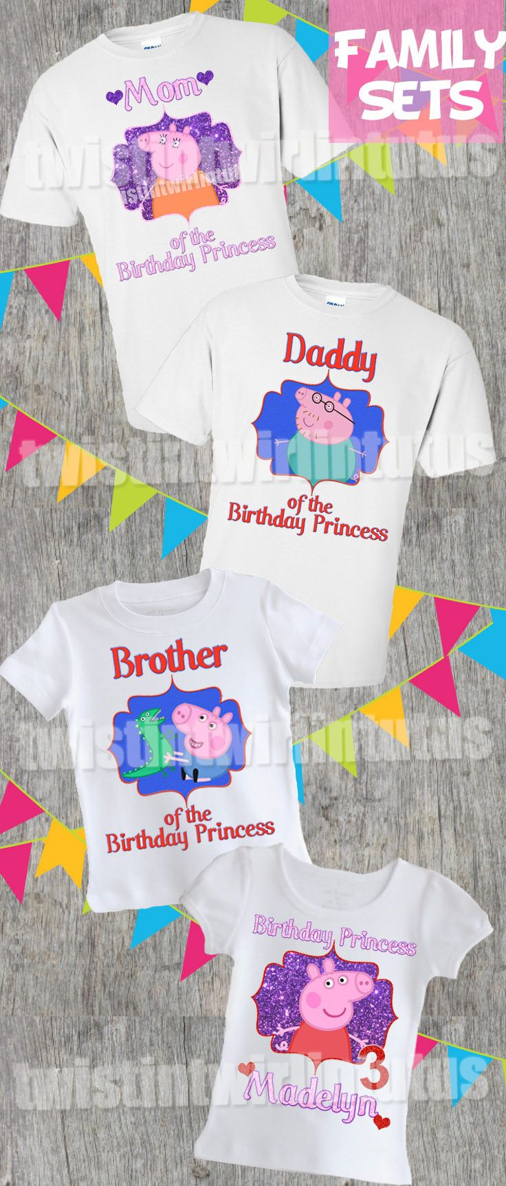 Peppa Pig Family Shirt Set | Peppa Pig Birthday Ideas | Birthday Party Ideas for Girls | Birthday Ideas for Boys | Twistin Twirlin Tutus #peppapigbirthday