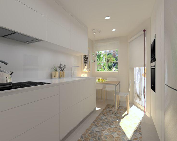 M s de 25 ideas incre bles sobre cocinas blancas en - Suelo hidraulico cocina ...
