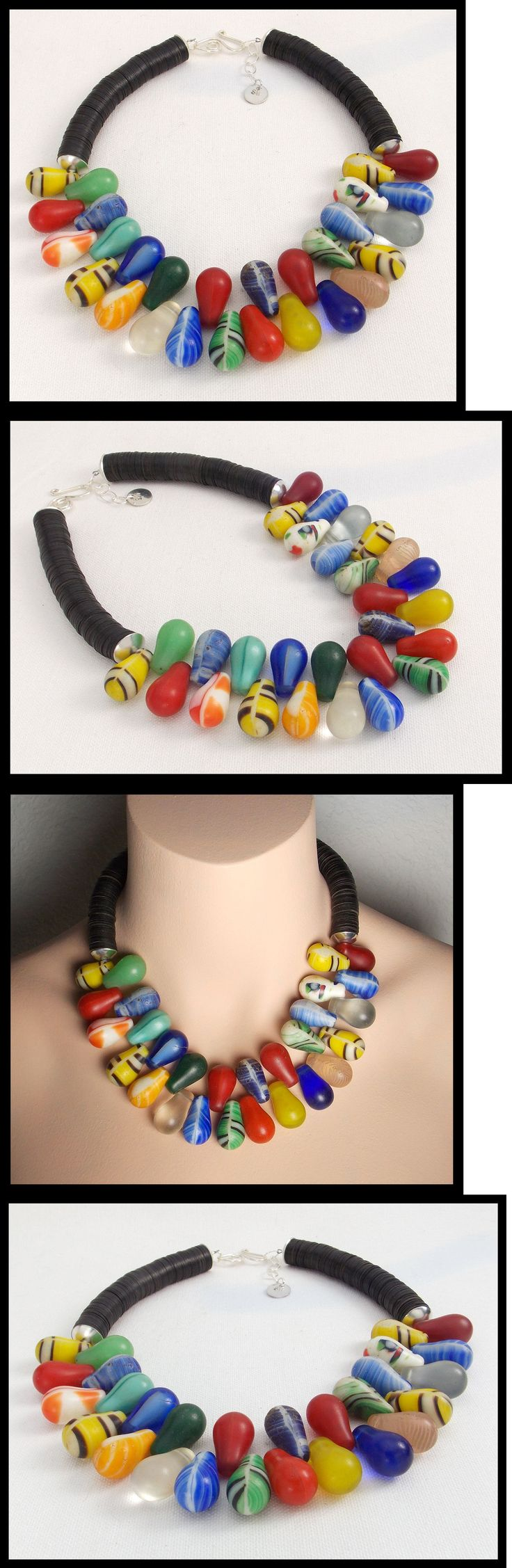 Necklaces and Pendants 98481: Mali - Mali Wedding Beads - African Vulcanite 1 Of A Kind Statement Necklace BUY IT NOW ONLY: $220.0