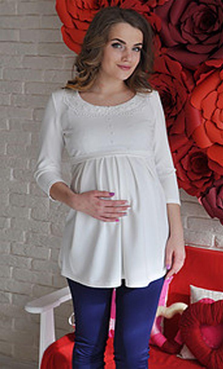 Туника Алина молочная для беременных