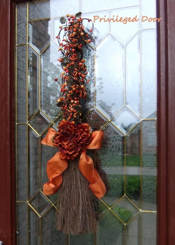 fall wreath harvest wreath halloween wreath the pip berry broomstick created especially