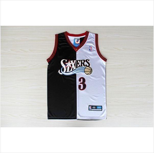 ... Mens Philadelphia 76ers Allen Iverson 3 Split Fashion NBA Basketball  Jersey VTG ALLEN IVERSON REEBOK ... 21af4975f