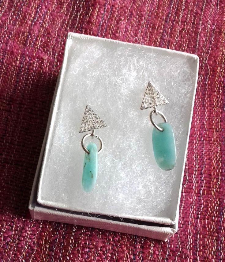 Amazonite and 925 sterling silver triangle drop earrings