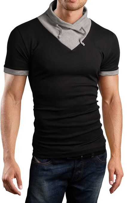 Grin&Bear Men's chawl collar Shirt T-Shirt shortsleeve, black, M, BH111