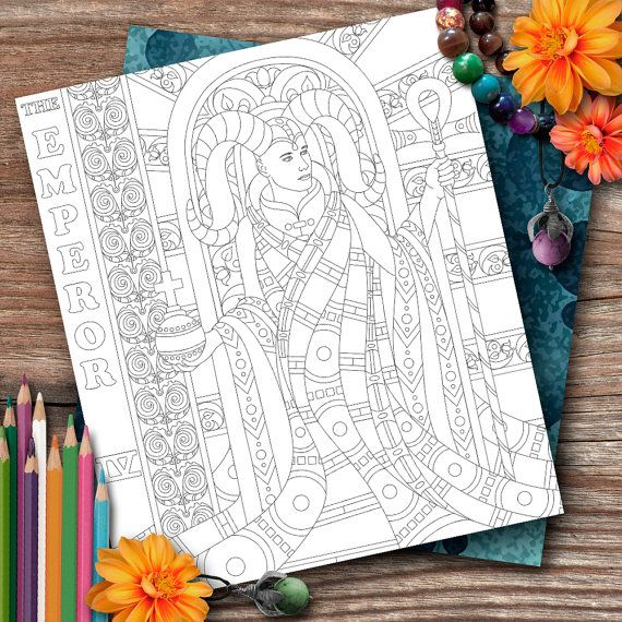 Aries Tarot The Emperor Colouring Page by OpulentOwlArtistry