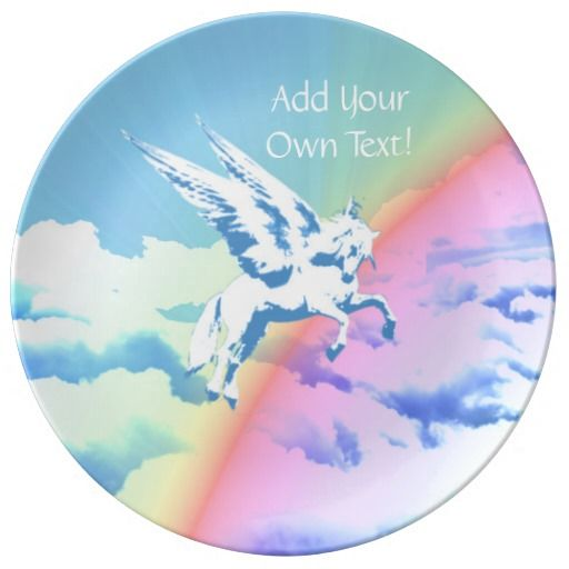 http://www.zazzle.com/pegasus_flying_over_clouds_and_rainbow-256475116664368704?rf=238523064604734277 Pegasus Flying Over Clouds And Rainbow - This porcelain plate features a Pegasus flying over a rainbow over clouds. Add your own name or text!
