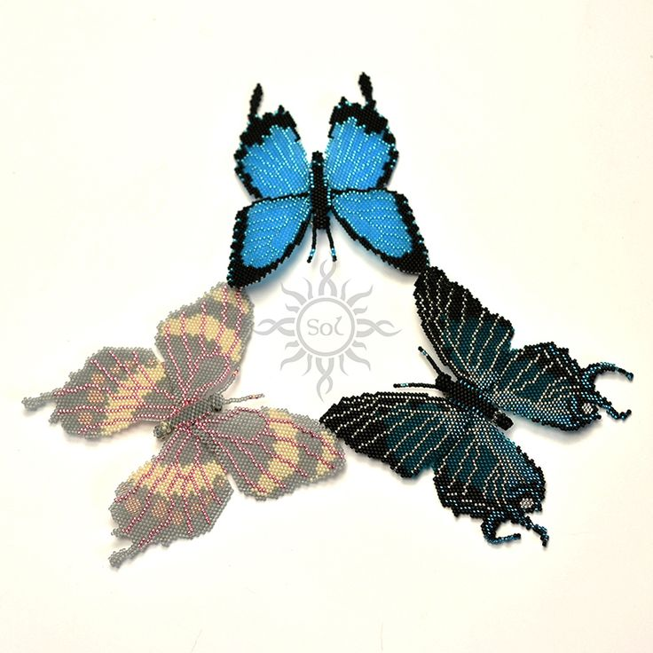 Anna Nieśpiałowska, Sol. Beadwoven butterfly brooches. http://polandhandmade.pl/kategorie/beading/niespialowska-anna-sol/  #butterflybrooch #butterflyjewelry #statementbrooch #insectjewelry #natureinspired #bugjewelry