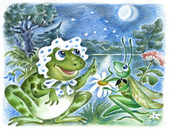 Frog and Grasshopper at moonlit night by Natvasclayandpaper