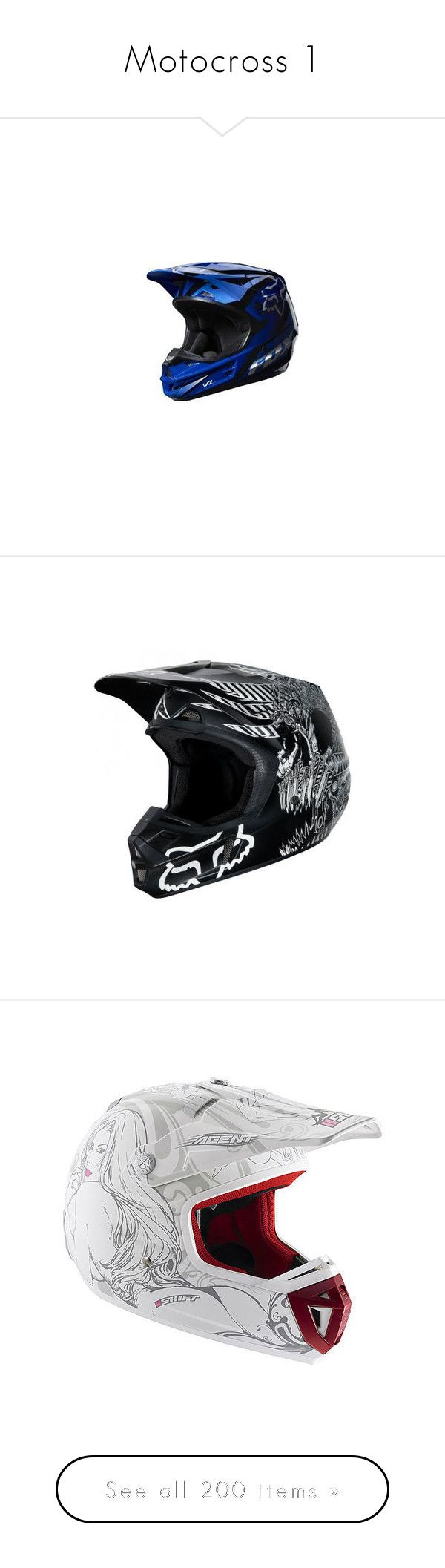 """Motocross 1"" by chimerah17 ❤ liked on Polyvore featuring motocross, hats, helmets, motorcross, helmet, sports, accessories, bike, fox and vehicle"