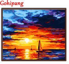 Home decor oleju cyfrowe obrazy na płótnie zdjęcia ścienny do salon malarstwo numerami Słońce shoning w morzu widok(China (Mainland))