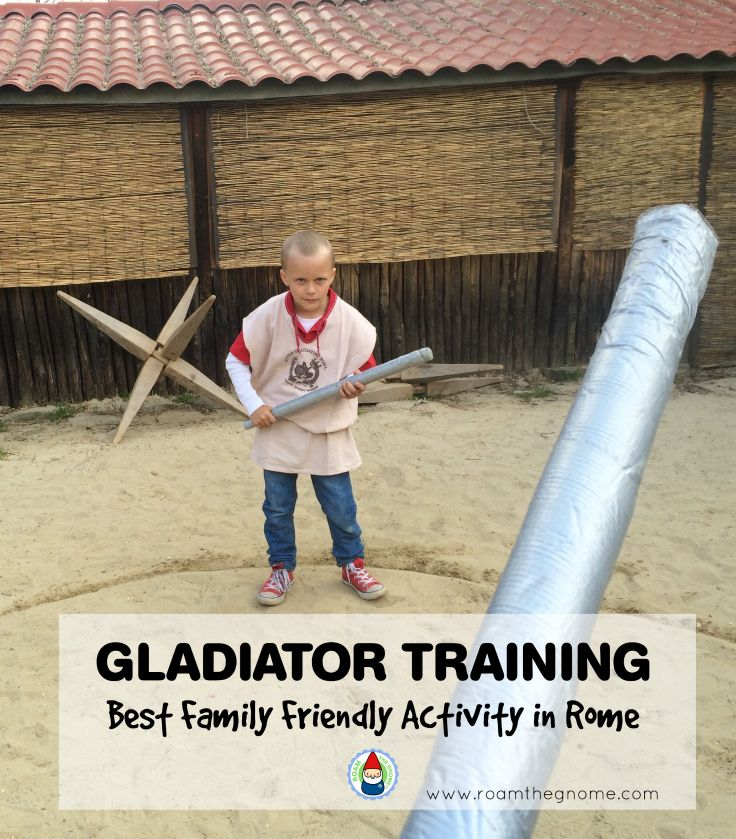 Gladiator Training School Rome, with Ned. Visit www.roamthegnome.com. Our Family Travel Directory for MORE SUPER DOOPER FUN ideas for family-friendly weekend adventures and travel with kids, all over the world. Search by city. Rated by kids and our travelling Gnome.