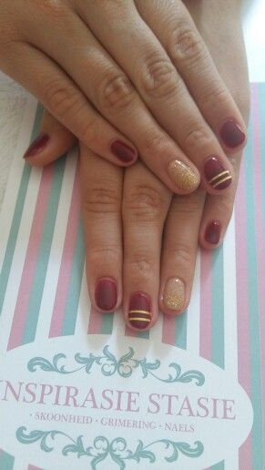 This popular colour, perfect for Winter, is called 'Burgundy', beautifully complimented with gold, 'Good Fortune' & gold stripes. Using #PolishPro exclusively
