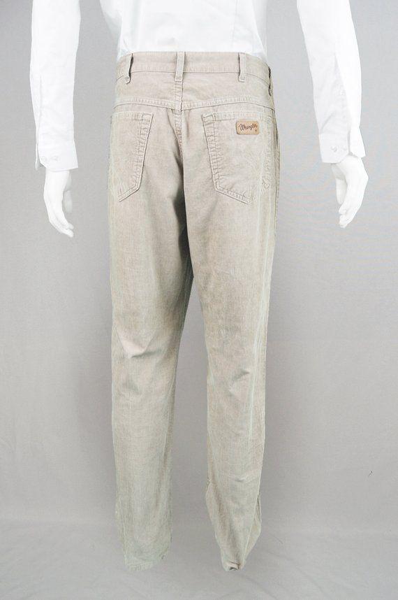 dba5c81b Vintage WRANGLER Cords Pants 90s Grunge Jeans Corduroy Pants Mens Beige  Slacks Stone Pants Men Corduroys Trousers Straight Leg Pants Classic in  2019 ...