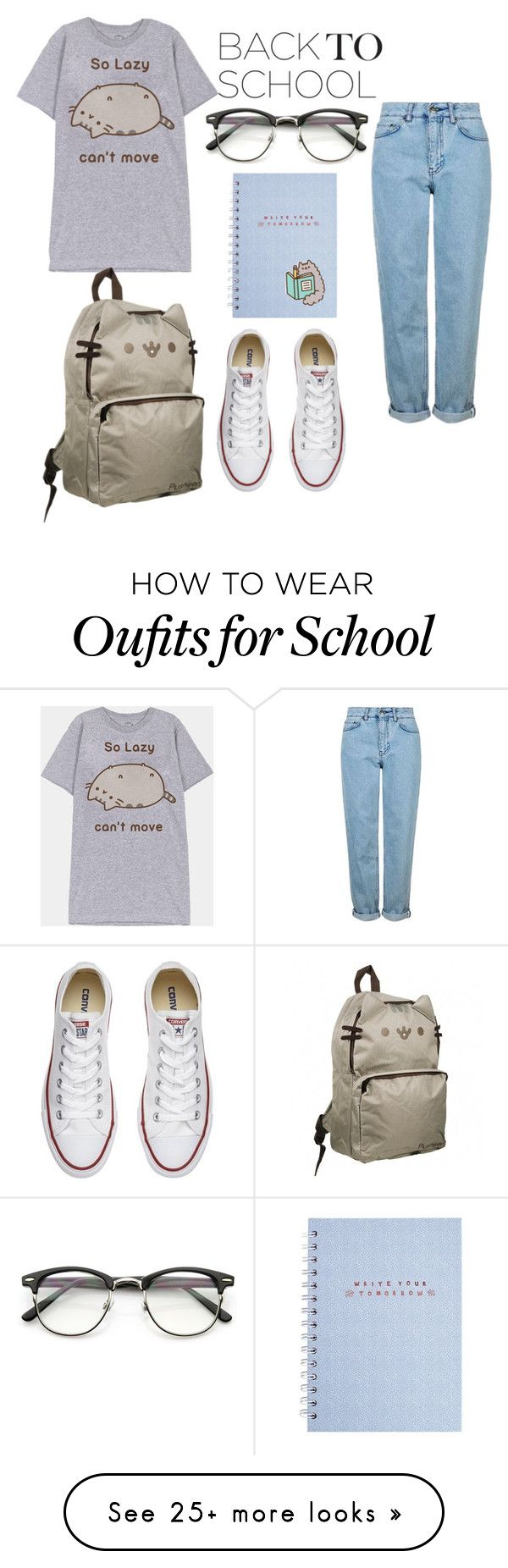 """""""school style"""" by maja2025 on Polyvore featuring Pusheen, ZeroUV, Converse and Topshop"""