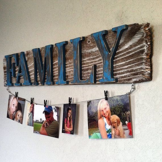 Rustic Reclaimed Wood Sign Family Sign With Clothesline Wire Rustic Home Decor Wall