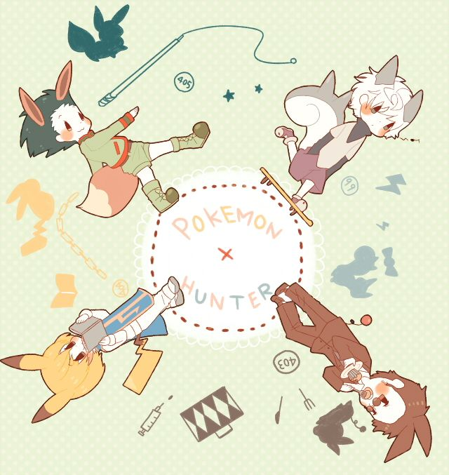 Oman1229, Hunter x Hunter, Pokémon, Leorio Paladiknight, Pikachu, Gon Freaks