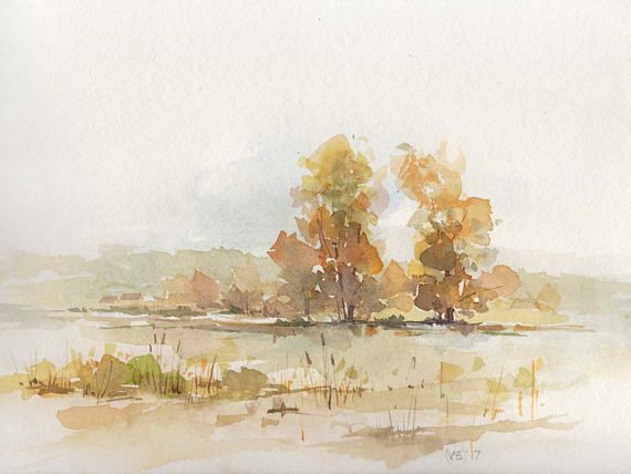 Wimbledon Common - Original handmade watercolor painting, autumn landscape, village scenes, countryside, serenity, panoramic