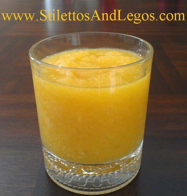 PEACHES & CREAM SLUSH: 4 frozen Peaches (about 6 slices per peach), 1 can Diet Cream Soda, ice only if needed