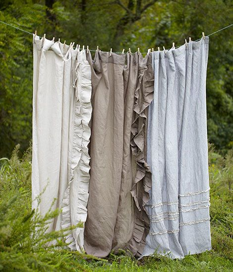 Linen Curtain Panels - why does this feel like the genius way of doing curtains that I've never known about??