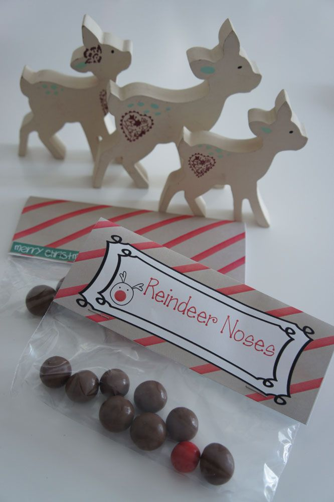 FREE printable Christmas labels for classmate gifts. Reindeer Noses and Reindeer Food. www.capricollective.com
