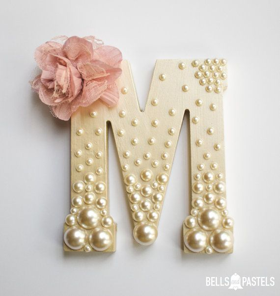 decorative wooden letter for baby shower bridal shower or nursery 9 or 15 inch personalized with assorted pearls and flower detail
