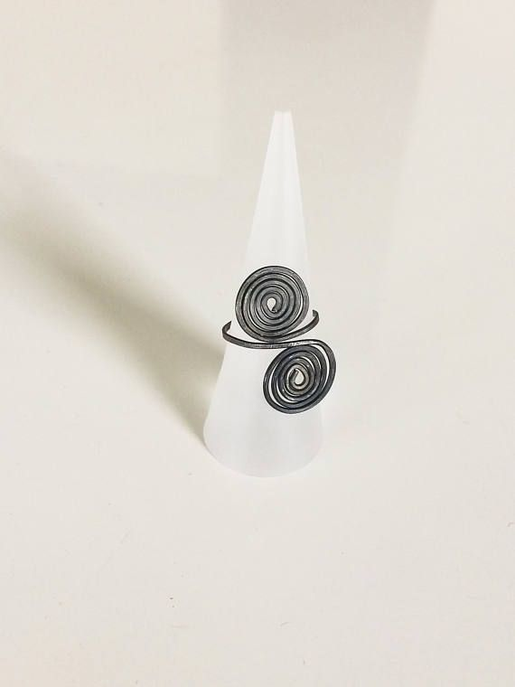 Double Spiral Iron Ring Simple Black Ring Handmade